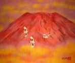 赤富士に舞う